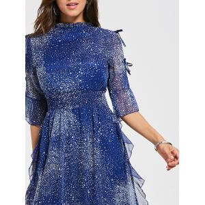 Split Sleeve Star Print Chiffon Cocktail Dress -