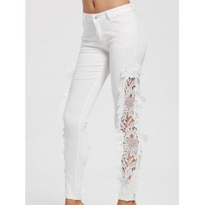 Hollow Out Lace Panel Jeans
