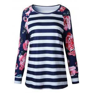 Raglan Sleeve Floral Striped Top