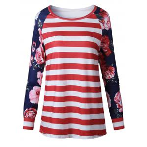 Raglan Sleeve Floral Striped Top - Red - S
