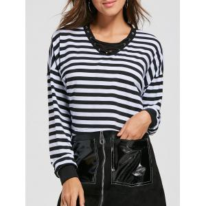Lace Up Striped Long Sleeve Crop Top - Black - Xl