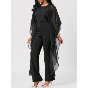 Mesh Panel High Waist Jumpsuit