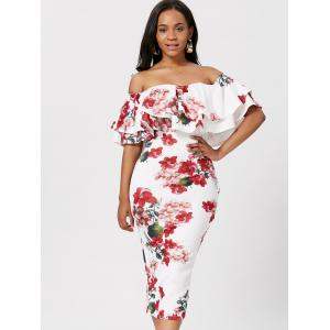 Ruffle Off The Shoulder Bodycon Floral Dress -