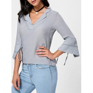 Tie Sleeve Shirt Collar Casual Blouse