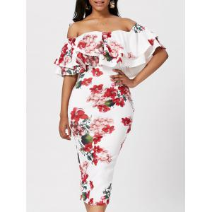 Ruffle Off The Shoulder Bodycon Floral Dress - White - M