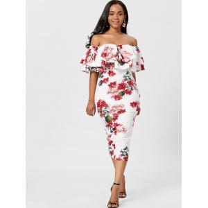 Ruffle Off The Shoulder Bodycon Robe Floral - Blanc S