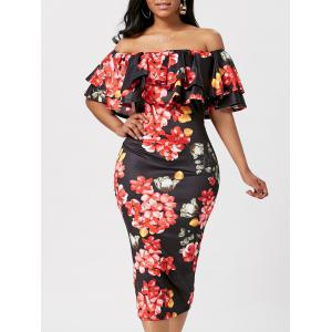 Ruffle Off The Shoulder Bodycon Floral Dress - Black - L