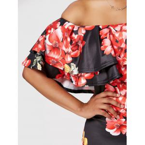 Ruffle Off The Shoulder Bodycon Robe Floral - Noir S