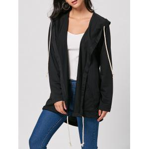 Longline Drawstring Hooded Coat - Black - S