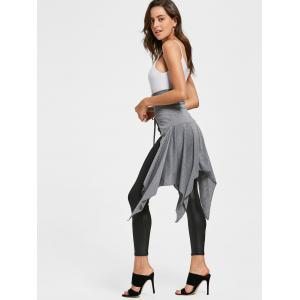 High Waist Front Slit Lace Up Asymmetrical Skirt - GRAY S