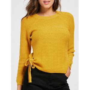 Crew Neck Self Tie Knit Sweater