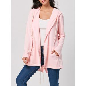 Longline Drawstring Hooded Coat - Pink - L
