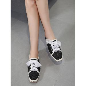 Square Toe Sequined Sneakers - BLACK 37