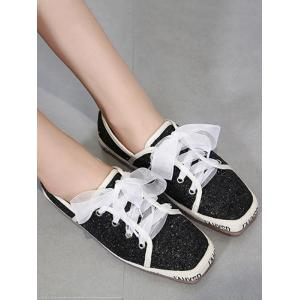 Square Toe Sequined Sneakers - BLACK 38