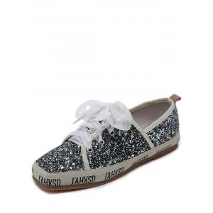 Square Toe Sequined Sneakers - GRAY 39