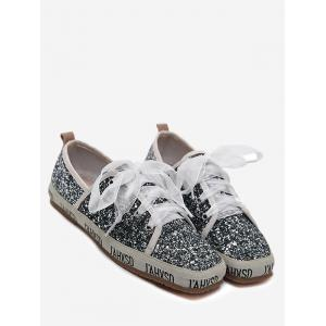Square Toe Sequined Sneakers - Gray - 37