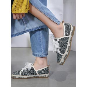Square Toe Sequined Sneakers -