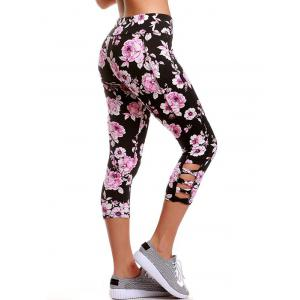 Criss Cross Floral Cropped Yoga Leggings