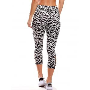 Fitted Criss Cross Cropped Yoga Leggings - BLACK WHITE XL