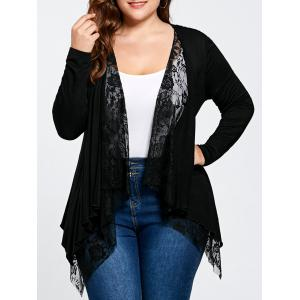 Plus Size Lace Trim Open Front Cardigan - Black - Xl