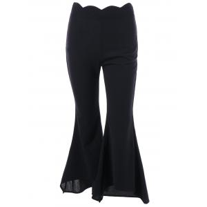 Scalloped Edge Waist Trumpet Pants - Black - M