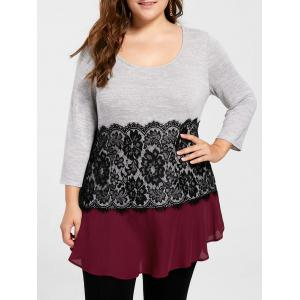 Plus Size Lace Insert Flowy Top
