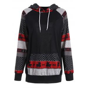 Plus Size Pocket Christmas Deer Raglan Sleeve Hoodie