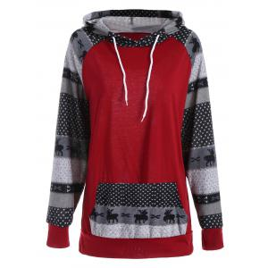 Plus Size Pocket Christmas Deer Raglan Sleeve Hoodie - Red - 5xl