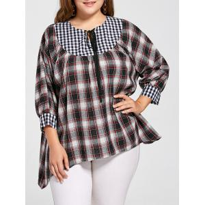 Plus Size Lacing Checked Asymmetric Top