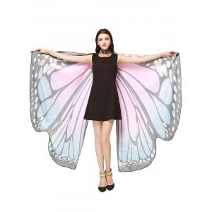 Oversize Chiffon Butterfly Wing Design Strap Cape - Light Pink - One Size