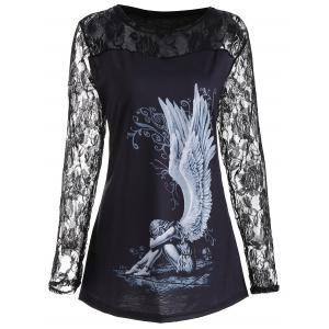 Lace Panel Angel Print Plus Size Top - Black - 5xl