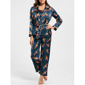 Satin Printed Wrap Pajamas Set