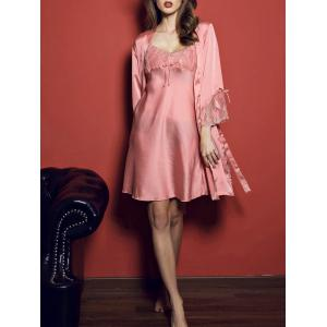 Slip Mini Dress with Kimono Robe