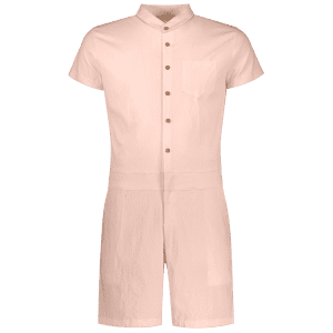 Single Breasted Short Sleeve Romper - APRICOT XL