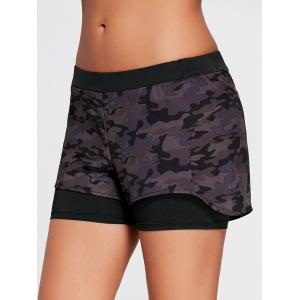 Camo Zip Pocket Two Layered Sports Shorts -