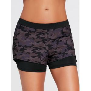Camo Zip Pocket Two Shorts sport en couches - Noir 2XL
