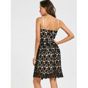 Crochet Cami Lace Mini Club Cocktail Dress - BLACK S