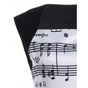 Musical Notes Print Sleeveless Vintage Dress - WHITE AND BLACK XL