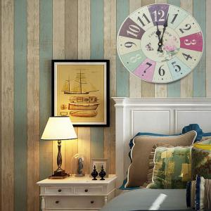 Flower Butterfly Wood Round Analog Wall Clock - COLORFUL GEOMETRIC 50*50CM