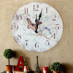 Flower Butterfly Wood Round Analog Wall Clock - WHITE 50*50CM