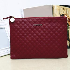 Faux Leather Quilted Clutch Bag -