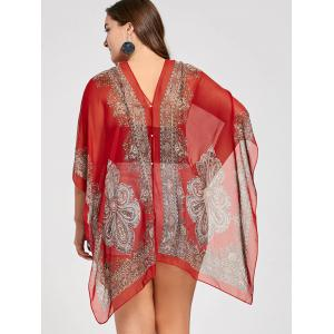Beaded Plus Size Printed Chiffon Poncho Top -