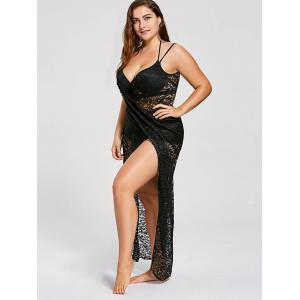 Lace Plus Size Wrap Cover Up Dress -