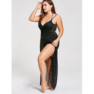 Plus Size Lace Wrap Cover Up Dress -