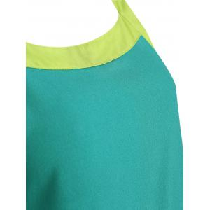 Stylish Scoop Neck Color Block Tank Top and Drawstring Chiffon Pants Suit For Women -