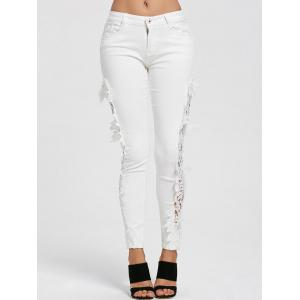Hollow Out Lace Panel Jeans -
