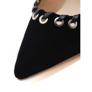 Pointed Toe Grommet Slingback Stiletto Heel Pumps -