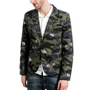 Lapel Camouflage Floral One Button Blazer -