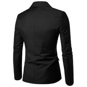 PU Leather Panel Edging Double Breasted Blazer -