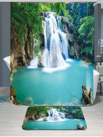 Waterfall Forest Showerproof Bathroom Curtain Carpet Set - Green - W71 Inch * L71 Inch